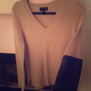 J Crew sweater with leather detail